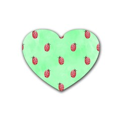 Pretty Background With A Ladybird Image Heart Coaster (4 Pack)