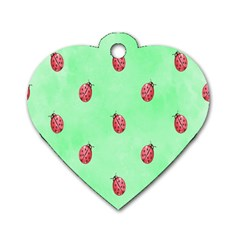 Pretty Background With A Ladybird Image Dog Tag Heart (One Side)