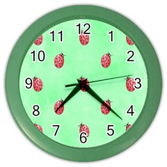 Pretty Background With A Ladybird Image Color Wall Clocks