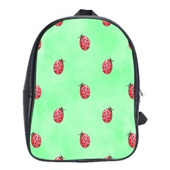 Pretty Background With A Ladybird Image School Bags(Large)
