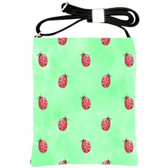 Pretty Background With A Ladybird Image Shoulder Sling Bags