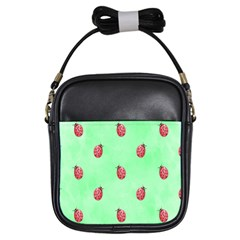 Pretty Background With A Ladybird Image Girls Sling Bags