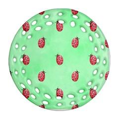 Pretty Background With A Ladybird Image Ornament (round Filigree)