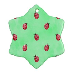 Pretty Background With A Ladybird Image Snowflake Ornament (Two Sides)