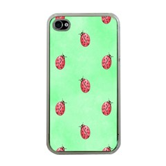 Pretty Background With A Ladybird Image Apple iPhone 4 Case (Clear)