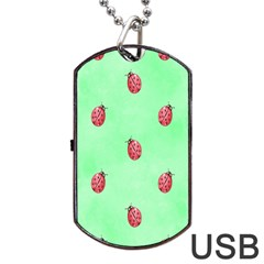 Pretty Background With A Ladybird Image Dog Tag USB Flash (Two Sides)