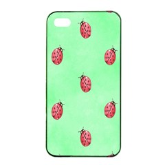 Pretty Background With A Ladybird Image Apple iPhone 4/4s Seamless Case (Black)