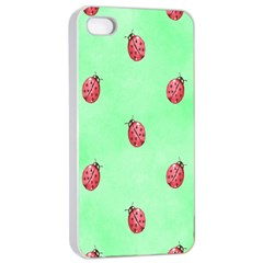 Pretty Background With A Ladybird Image Apple iPhone 4/4s Seamless Case (White)