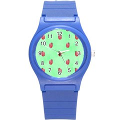 Pretty Background With A Ladybird Image Round Plastic Sport Watch (s)