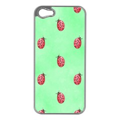 Pretty Background With A Ladybird Image Apple iPhone 5 Case (Silver)