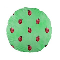 Pretty Background With A Ladybird Image Standard 15  Premium Round Cushions