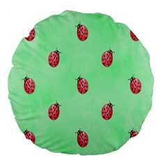 Pretty Background With A Ladybird Image Large 18  Premium Round Cushions