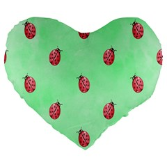 Pretty Background With A Ladybird Image Large 19  Premium Heart Shape Cushions