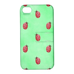 Pretty Background With A Ladybird Image Apple Iphone 4/4s Hardshell Case With Stand