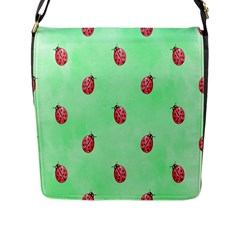 Pretty Background With A Ladybird Image Flap Messenger Bag (l)