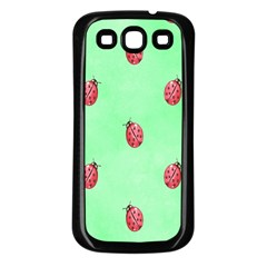 Pretty Background With A Ladybird Image Samsung Galaxy S3 Back Case (Black)