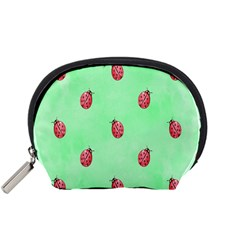 Pretty Background With A Ladybird Image Accessory Pouches (Small)