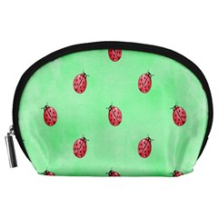 Pretty Background With A Ladybird Image Accessory Pouches (large)