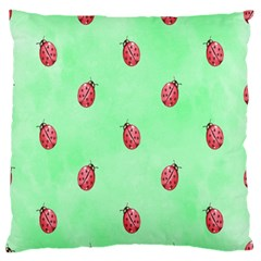 Pretty Background With A Ladybird Image Large Flano Cushion Case (Two Sides)