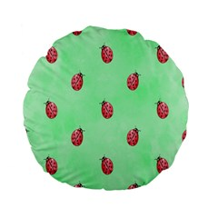 Pretty Background With A Ladybird Image Standard 15  Premium Flano Round Cushions