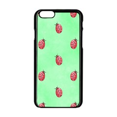 Pretty Background With A Ladybird Image Apple Iphone 6/6s Black Enamel Case