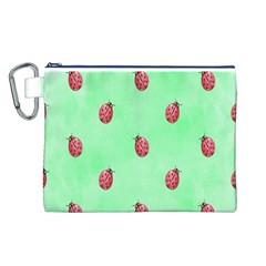 Pretty Background With A Ladybird Image Canvas Cosmetic Bag (L)