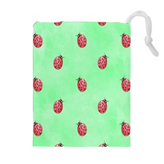 Pretty Background With A Ladybird Image Drawstring Pouches (Extra Large)