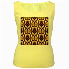 Abstract Seamless Background Pattern Women s Yellow Tank Top
