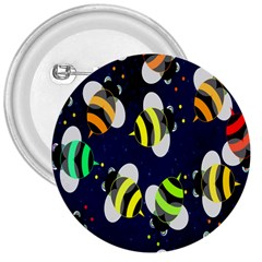 Bees Cartoon Bee Pattern 3  Buttons