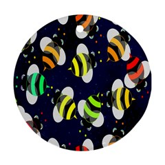 Bees Cartoon Bee Pattern Ornament (Round)