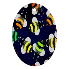 Bees Cartoon Bee Pattern Ornament (oval)