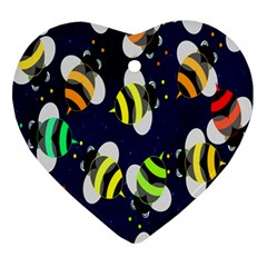 Bees Cartoon Bee Pattern Ornament (Heart)