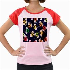 Bees Cartoon Bee Pattern Women s Cap Sleeve T-Shirt
