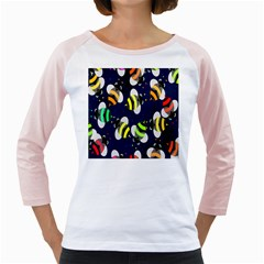 Bees Cartoon Bee Pattern Girly Raglans