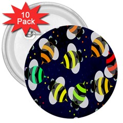 Bees Cartoon Bee Pattern 3  Buttons (10 pack)