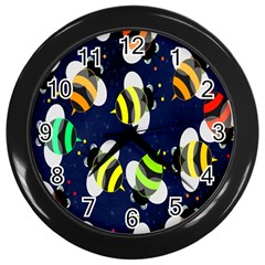 Bees Cartoon Bee Pattern Wall Clocks (Black)