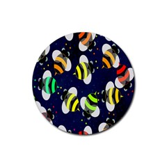 Bees Cartoon Bee Pattern Rubber Round Coaster (4 Pack)