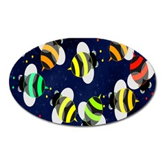Bees Cartoon Bee Pattern Oval Magnet