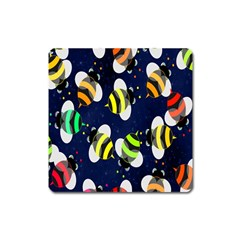 Bees Cartoon Bee Pattern Square Magnet