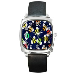 Bees Cartoon Bee Pattern Square Metal Watch