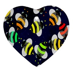 Bees Cartoon Bee Pattern Heart Ornament (Two Sides)