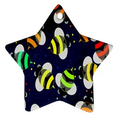 Bees Cartoon Bee Pattern Star Ornament (Two Sides)