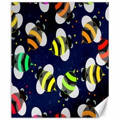Bees Cartoon Bee Pattern Canvas 8  X 10