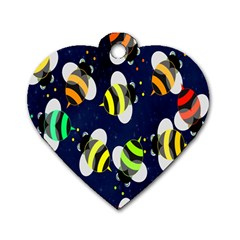 Bees Cartoon Bee Pattern Dog Tag Heart (One Side)