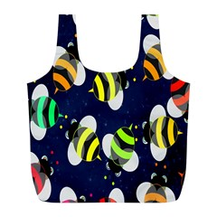Bees Cartoon Bee Pattern Full Print Recycle Bags (l)