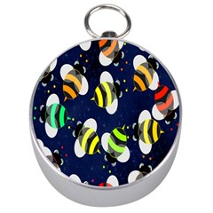 Bees Cartoon Bee Pattern Silver Compasses