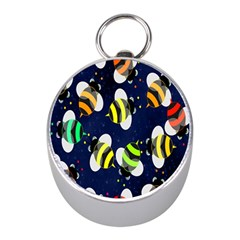 Bees Cartoon Bee Pattern Mini Silver Compasses