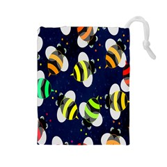 Bees Cartoon Bee Pattern Drawstring Pouches (Large)