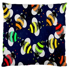 Bees Cartoon Bee Pattern Large Flano Cushion Case (one Side)