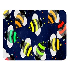 Bees Cartoon Bee Pattern Double Sided Flano Blanket (Large)